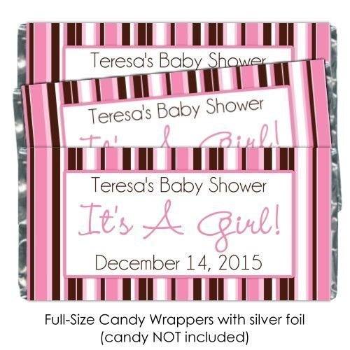 25 It's A Girl Baby Shower Candy Wrappers, Birth Announcement candy wrappers, pink stripe baby shower (Announcement Candy Wrappers)