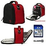 Nylon SLR Bag - Red For Canon EOS Rebel T5i, T5, T3i, T3i, T6s Digital SLR Camera + 32GB Class 10 SD Card