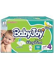 BabyJoy Compressed Diamond Pad, Size 4, Large, 10-18 kg, Jumbo Box, 96 Diapers
