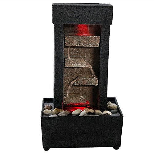 Sunnydaze Tiered Shelves Lighted Tabletop Fountain, 10 Inch (Rock Fountain Wall)