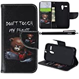 Moto G Case (1st Gen), iYCK Premium PU Leather Flip Folio Carrying Magnetic Closure Protective Shell Wallet Case Cover for Moto G (1st Gen) with Kickstand Stand - Electric Saw Bear