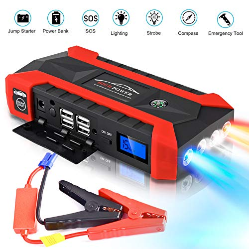 Dreamyth- 89800mAh 12V LCD 4 USB Car Jump Starter Pack Booster Charger Battery Power Bank