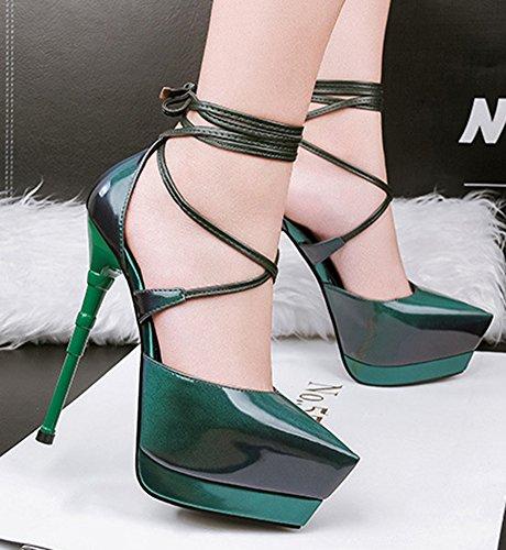 Court Aisun Heel Women's Tie Sexy Platform Dress Nightclub Super Self Green High Toe Stiletto Shoes Pointy wwS1qOr