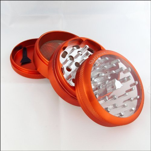 Large Sharpstone Herb Grinder Clear Top Red and a Cali Crusher Press