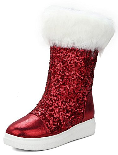 Aisun Women's Warm Glitter Sequins Thick Sole Faux Fur Lined Round Toe Flat Platform Pull On Mid Calf Snow Boots (Red, 6 B(M) US) by Aisun