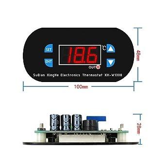 W1308 Temperature Thermostat Alarm Dual LED Controller Digital 12V 10A Sensor