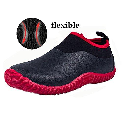 JACKSHIBO Rain Boots Shoes, Women Men Garden Shoes Waterproof Low Ankle Car Wash Shoes, BlackRed 39 by JACKSHIBO