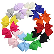 "QtGirl 12 Pieces 5"" Jumbo Solid Color Ponytail Clip Hair Bows for Girls"