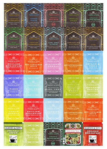 Harney & Sons Tea Sampler Variety Mix, Individual Size Tea Packets (30 Count)