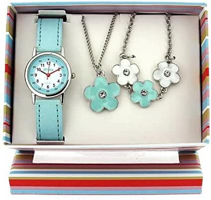 The Olivia Collection Kids Flower Watch & Jewellery Gift Set For Girls KS005