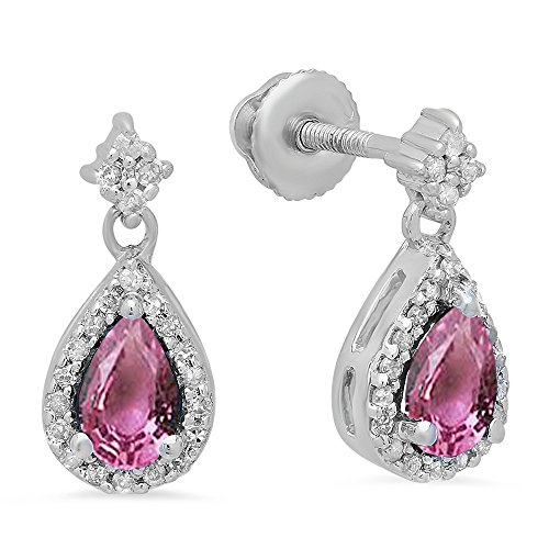 Dazzlingrock Collection 10K 5X3 MM Pear Pink Sapphire & Round Diamond Ladies Halo Style Dangling Drop Earrings, White Gold ()