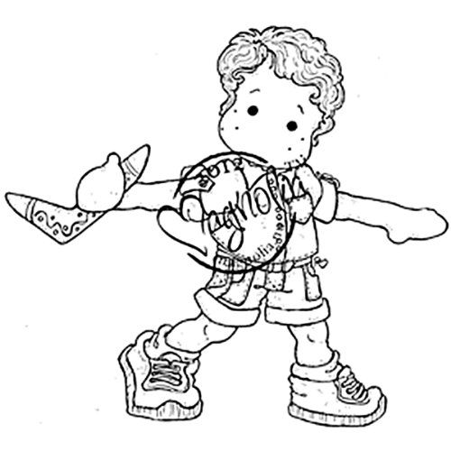 Magnolia Australia Cling Stamp, 6.5 by 4-Inch, Edwin with Boomerang