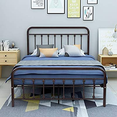 """AUFANK Metal Bed Frame Full Size Victorian Vintage Style Headboard and Footboard No Box Spring Heavy Duty Steel Slat Mattress Foundation Bronze - Sturdy bed frame stucture:Powder coating finish, made of durable steel with a sleek antique copper finish; designed for sleepers up to 300-500 pounds, no quaking & scratching,noise-free, strong packaged. Full size bed frame and storage space:Approx outer size:78""""x52.4""""x43.5"""" (LxWxH),provides extra under-the-bed storage space with a vertical clearance of about 13"""" inches to tidy your clothes,toys or quilts. Metal Full bed frame one box packing and easy assembly. package includes instruction and all parts and needed tools. Please follow assembly instruction and vedio for proper assembly. Accommodates a matching-size mattress. - bedroom-furniture, bedroom, bed-frames - 51vF4 Vr9VL. SS400  -"""