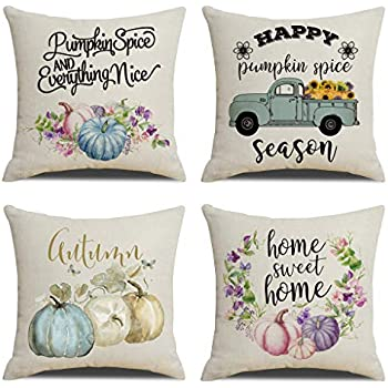 KACOPOL Autumn Watercolor Pumpkins Pillow Covers Pumpkin Spice Quotes Fall Thanksgiving Decorations Farmhouse Decor Cotton Linen Throw Pillow Case Cushion Cover 18