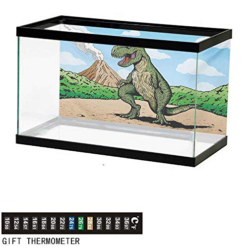(wwwhsl Aquarium Background,Dinosaur,Giant Lizard T-Rex on Active Volcano Untouched Jungle Backdrop,Green Pale Brown Pale Blue Fish Tank Backdrop 36