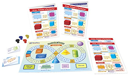 NewPath Learning 23-6946 Area, Volume and Perimeter Learning Center Game (Grades 3-5) - Game Board, 30 Illustrated Game Cards and Four 4-Panel, Laminated