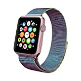 (US) Apple Watch Band , Swees 38mm Milanese Loop Stainless Steel Bracelet Strap Replacement Wrist Band with Unique Magnet Lock for Apple Watch Series 2 (2016) / Series 1, No Buckle Needed, Colorful