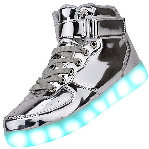 Odema Women High Top USB Charging LED Shoes Flashing Sneakers, Silver, 9 B(M) US