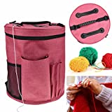 OKOKMALL US--Round Knitting Tote Bag Yarn Storage Bag Organizer Canvas Crochet Knitting Yarn