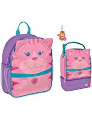 Stephen Joseph Mini Girl Cat Backpack and Lunch Pal with Zipper Pull - Toddler Bags