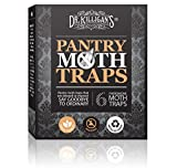 Dr. Killigans Premium Pantry Moth Traps With Pheromone Attractant | Safe, Non-Toxic with No Insecticides (6, Black Traps)