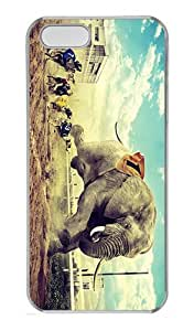 ICORER Plastic Case Cover for iPhone 5S/5 Elephant Racing Greyhounds Polycarbonate Plastic Case Cover for Apple iPhone 5 5s Transparent