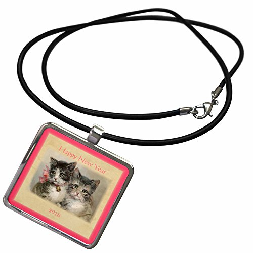 3dRose New Year Designs - Image of Vintage Style 2018 Happy New Year Kittens - Necklace With Rectangle Pendant - Year Images Vintage Happy New