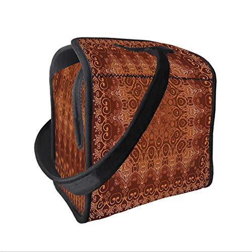 Neoprene Lunch Tote Bag with Shoulder Strap,Antique Decor,Vintage Lacy Persian Arabic Pattern from Ottoman Empire Palace Carpet Style Artprint,Orange Brown,for boys girls and adults