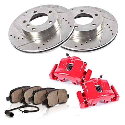 CCK02659 REAR Powder Coated Red [2] Calipers + [2] Zinc Plated Drilled/Slotted Rotors + [4] Ceramic Brake Pads ()
