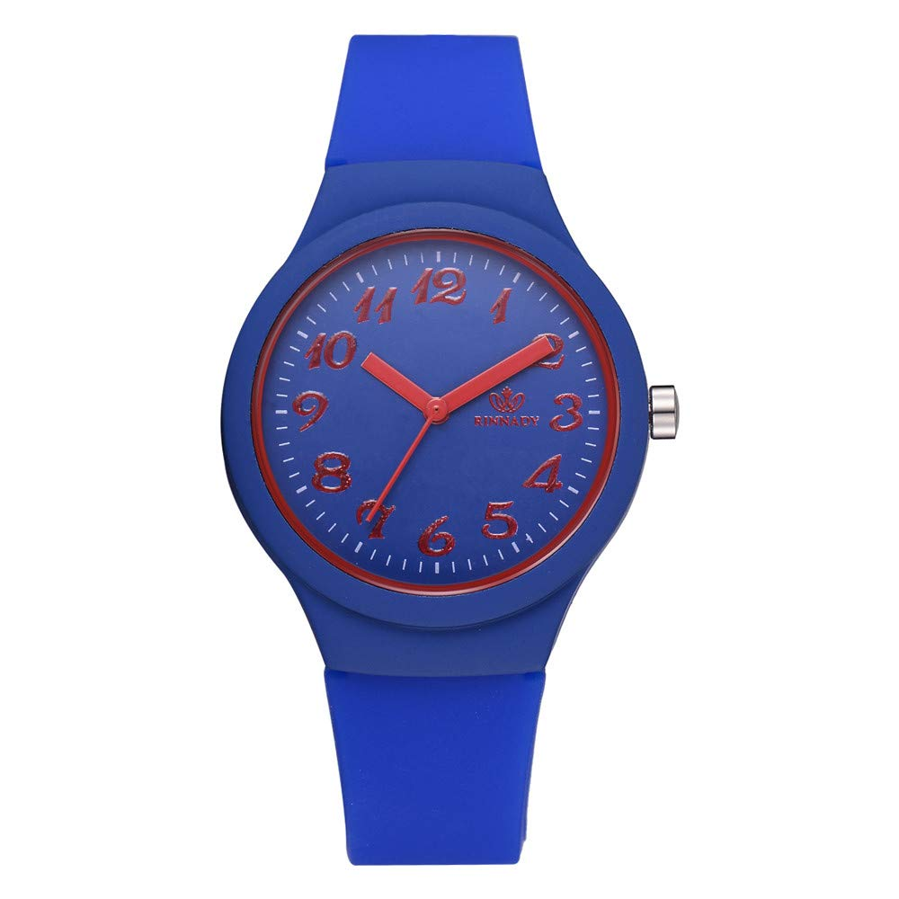 Fashion Women Silicon Strap Watches Ladies Solid Pattern Casual Wristwatch Clock,Outsta Bracelet Watch for Women Girls Gift Present (Blue)