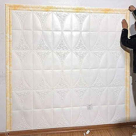 Blanc ECOSWAY Mural Bordure Ligne Plinthe Bordure 3D Motif Autocollant D/écoration Adh/ésif Imperm/éable Bande