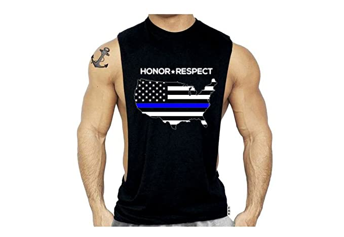 6b67e93db2deb SR Men`s Thin Blue Line USA Map Police Flag Muscle Shirt Workout Tank Top