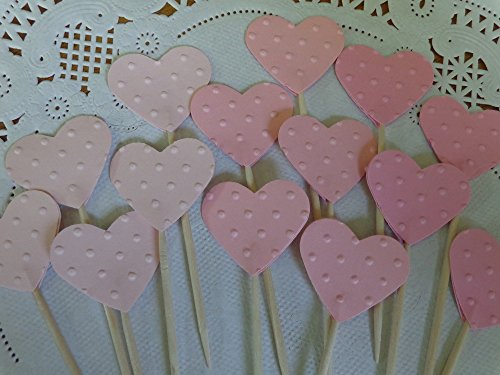 Light Pink Heart Cupcake Toppers - 3 Shades of Pink Polka Dot Embossed Food Picks - Party Picks - Appetizer Picks - 1 Inch Wide Hearts (Set of 24)