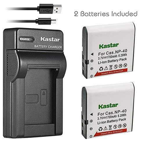 Kastar Battery (X2) & Slim USB Charger for Casio NP-40 and Exilim Z400 FC100 FC150 FC160S P505 P600 P700 Z100 Z1000 Z1050 Z1080 Z1200 Z200 Z30 Z300 Z40 Z450 Z50 Z500 Z55 Z57 PRO EX-Z600 Z700 Z750 Z850 ()