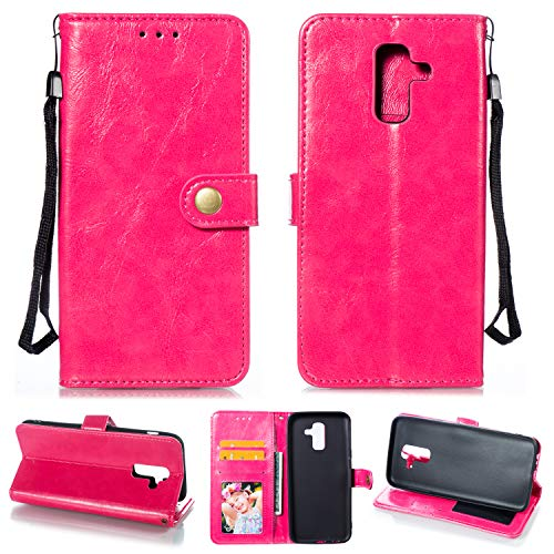 Ostop Samsung Galaxy A6 Plus Leather Wallet Case,Magenta Classic Oil Wax PU Stand Purse Credit Card Slots Holder Flip Stylish Simple Cover with Retro Metal Clasp for Samsung Galaxy A6 Plus 2018