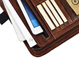Leather Portfolio | Zipper Binder Planner 2018-2019 | Tablet Holder Hickory Brown by Aaron Leather