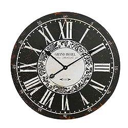 NIKKY HOME Grand Hotel Wall Clock, 23'', Ebony