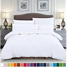 SUSYBAO 100% Natural Cotton 3 Pieces Duvet Cover Set King Size 1 Duvet Cover 2 Pillow Shams Solid White Hotel Quality Ultra Soft Breathable Hypoallergenic Fade Stain Resistant Bedding with Zipper Ties