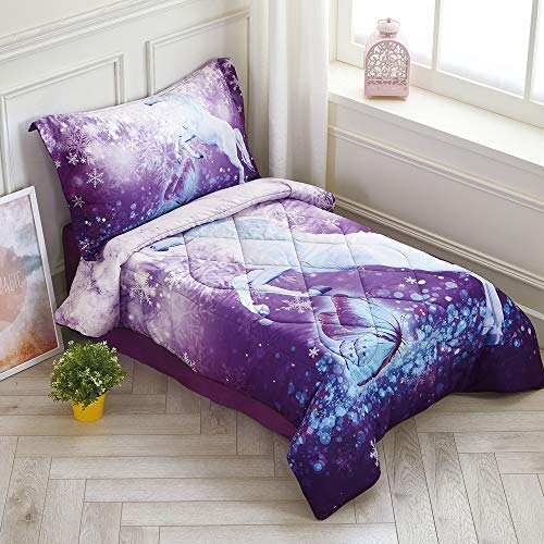 Wowelife Unicorn Toddler Bedding Set Purple 4 Piece Fly Unicorn Snowflake Toddler Bed Sets for Kids(Purple ()