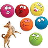 ASOSMOS 6 Pcs/Set Pet Cat Dog Toys Teeth Squeaker Ball Puppy Squeaky Sound Face Fetch Play Toy
