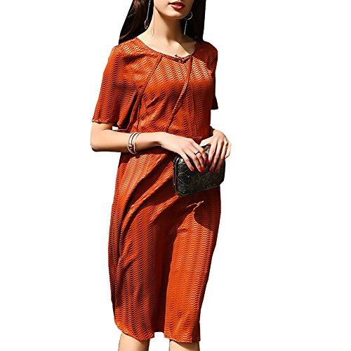 Plus Brown Summer S9977 Dress Vintage Sleeveless Silk Long Women DISSA Cocktail Knee Size Z0qwBnp