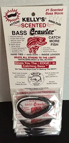 Bass Kellys Crawler black white 6 Pack Bundle Kellys Worms for fishing Kelly rigged rubber Worms licorice scented lures