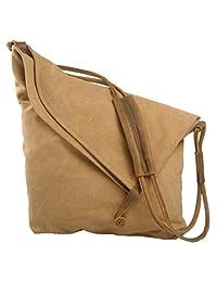 SAIERLONG Women's Tote Single Shoulder Bag Handbag Brown Canvas