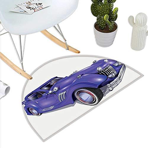 Anniutwo Cars Half Round Rubber Door mat Custom Vehicle with Aerodynamic Design for High Speeds Cool Wheels Hood Spoilers Half Round Front Door mat Violet Blue