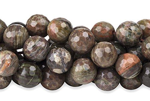 Silver Leaf Jasper Gemstone (2 Strands 15 Inch 6 mm Faceted Silver Leaf Jasper Gemstone Beads)