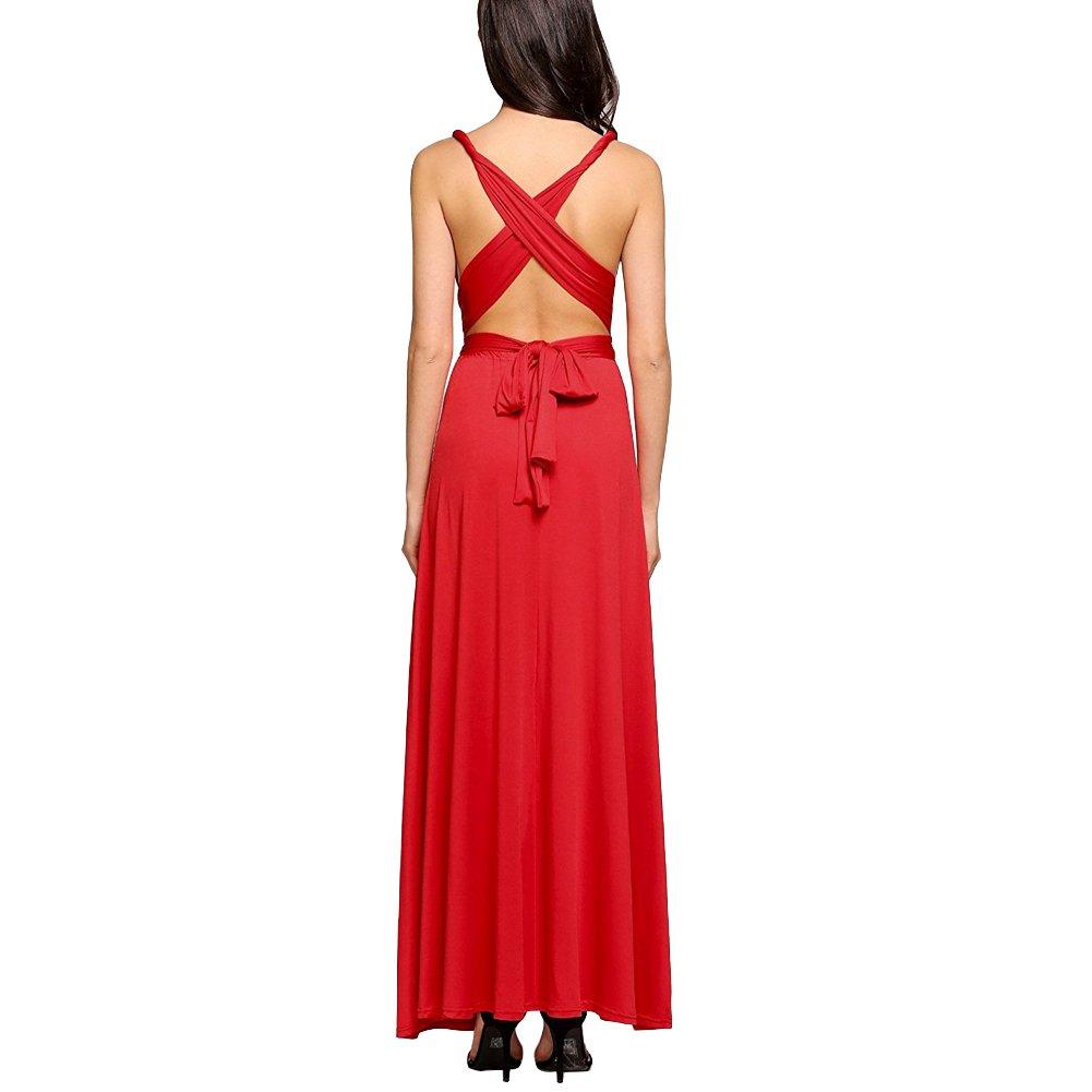 44d3a5549aa5 Donna Vestito Lunghe Senza Schienale Scollo a V Senza Maniche Maxi Abito da  Sera  Amazon.it  Abbigliamento