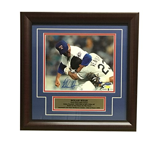 Nolan Ryan Autographed Texas Rangers Signed Framed 8x10 Photo Fight Punching Robin Ventura TRISTAR COA - Autographed Rangers 8x10 Photo
