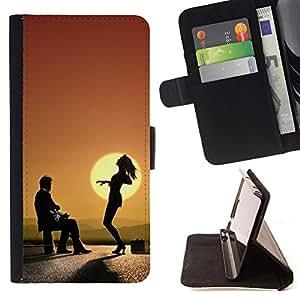BullDog Case - FOR/Samsung Galaxy S6 EDGE / - / Funky Funny Sunset Dance /- Monedero de cuero de la PU Llevar cubierta de la caja con el ID Credit Card Slots Flip funda de cuer