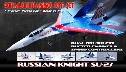 4 CH Russian Knight SU-27 FLANKER 3D Aerobatic Radio Remote Control Electric Ducted Fan RC Fighter Jet RTF w/ Dual Brushless Ducted Fan