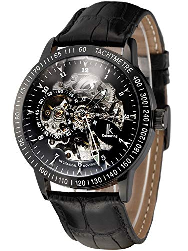 Carrie Hughes Men's Black Steampunk Skeleton Automatic Mechanical Stainless Steel Leather Watch CH224B (CH224B)